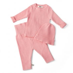 3 in 1 wintermeisje baby warm dieptepunt shirt + dieptepunt broek + hoed set, hoogte: 100cm (roze)