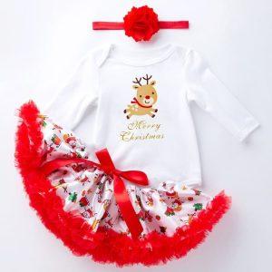 Baby Cartoon Romper met lange mouwen Netgaren Tutu Driedelige kinderkleding (Kleur: Elk Maat: 66)