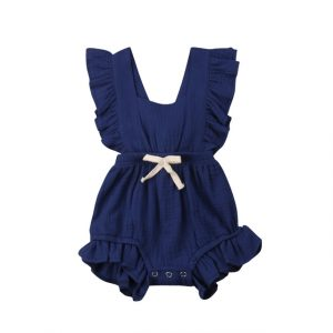 Baby effen kleur mouwloze verstoorde jumpsuit rugband romper, afmeting: 70cm (marineblauw)