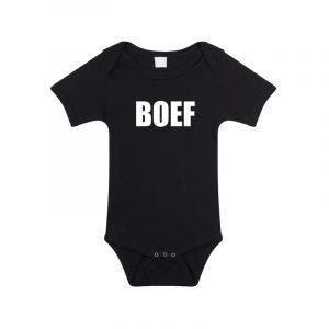 Boef tekst rompertje zwart baby