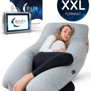 Diley Dreams® Zwangerschapskussen - Zijslaapkussen - Lichaamskussen - Voedingskussen - Body Pillow - Afneembare hoes - 280cm - Extra groot - XXL