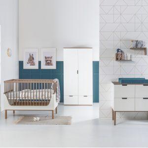 Kidsmill Sepp Babykamer Wit / Beuken | Bed 70 x 140 cm + Commode + Kast 3-Deurs