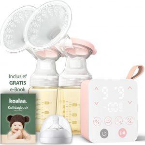 Koalaa® Pro - Dubbele Elektrische Borstkolf met eBook - Draadloos - Inclusief PPSU babyfles 180ml (2×) - Kolfapparaten met Verstelbare sterktes voor Comfortabel borstvoeding geven