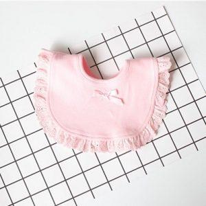 3 PC'S pasgeboren Lace Bow baby slabbetjes baby speeksel handdoeken (roze)