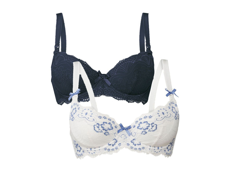 2 dames voedings-BH (80B, Donkerblauw/wit)