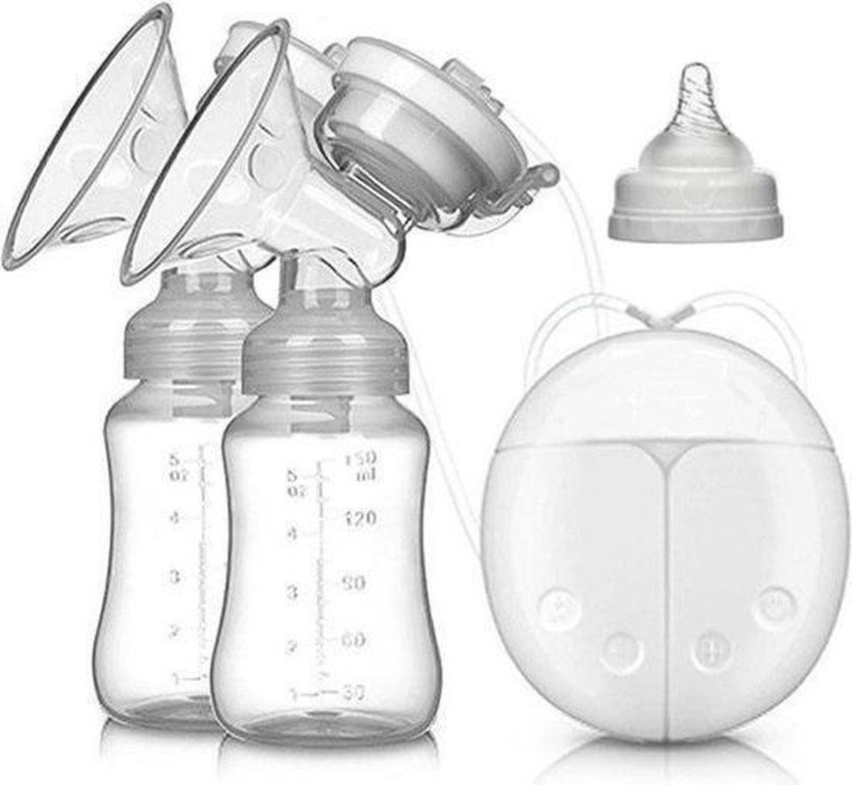 BYER Elektrische dubbele borstkolf kolfapparaat - 2 kolven - 100% BPA-Vrij - 150 ml