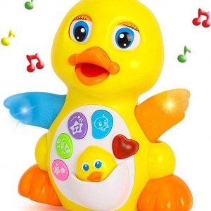 Fladderende gele eend - Muzikaal speelgoed - Speelgoed - Kwakende eend - Fladderen Eend - Gele eend - Interactief speelgoed - Educatief speelgoed - Leren - Lopend speelgoed - Veilig voor kinderen - Baby speelgoed