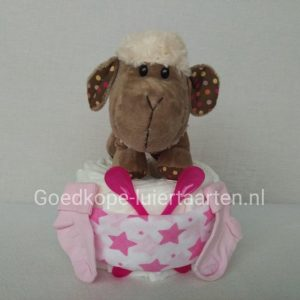 Luiertaart meisje - schaapje soft curly - kraamcadeau - baby cadeau - babyshower cadeau - zwanger