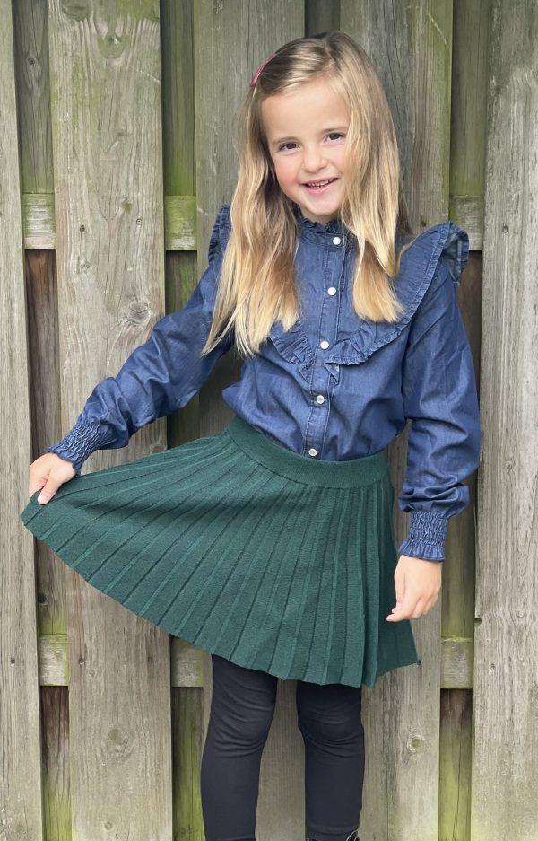 B.Nosy Meisjes blouse - Spijkermet gr ote V-vormige ruffles - Empire Denim