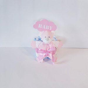 Luiertaart Knuffel Doek Beertje Roze   Kraamcadeau   Kraampakket   Baby Cadeau